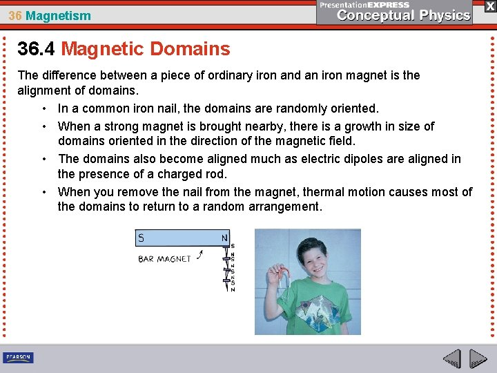 36 Magnetism 36. 4 Magnetic Domains The difference between a piece of ordinary iron