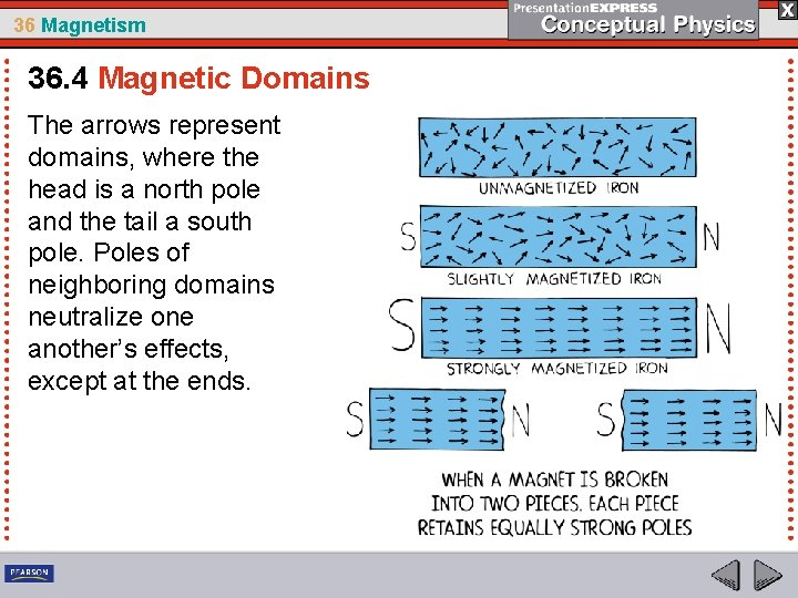 36 Magnetism 36. 4 Magnetic Domains The arrows represent domains, where the head is