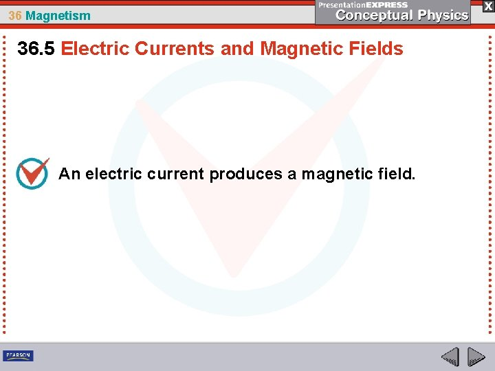 36 Magnetism 36. 5 Electric Currents and Magnetic Fields An electric current produces a