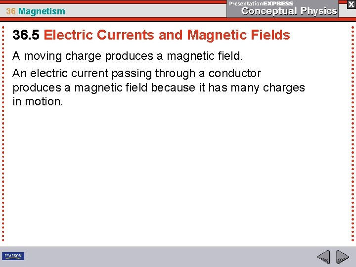 36 Magnetism 36. 5 Electric Currents and Magnetic Fields A moving charge produces a