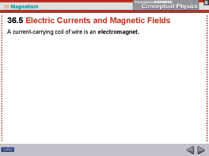 36 Magnetism 36. 5 Electric Currents and Magnetic Fields A current-carrying coil of wire