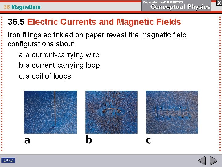36 Magnetism 36. 5 Electric Currents and Magnetic Fields Iron filings sprinkled on paper