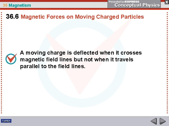 36 Magnetism 36. 6 Magnetic Forces on Moving Charged Particles A moving charge is