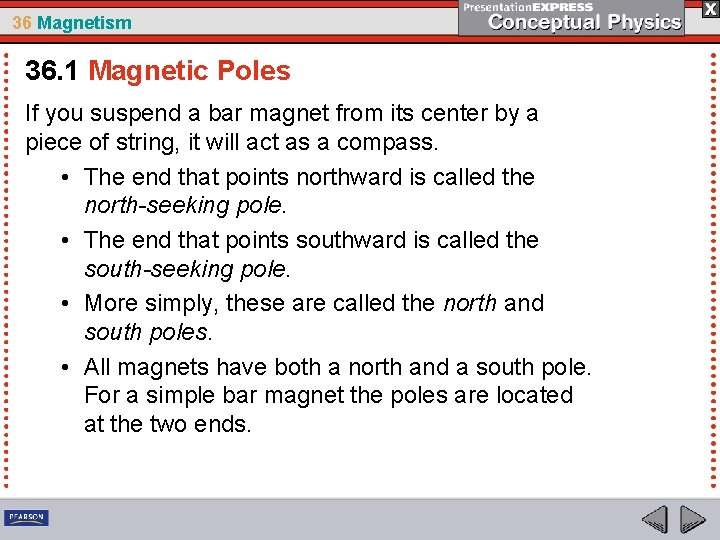 36 Magnetism 36. 1 Magnetic Poles If you suspend a bar magnet from its