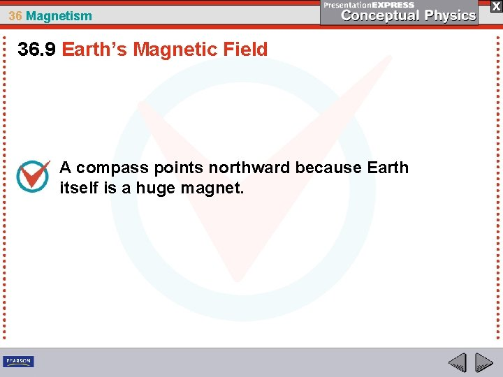 36 Magnetism 36. 9 Earth's Magnetic Field A compass points northward because Earth itself