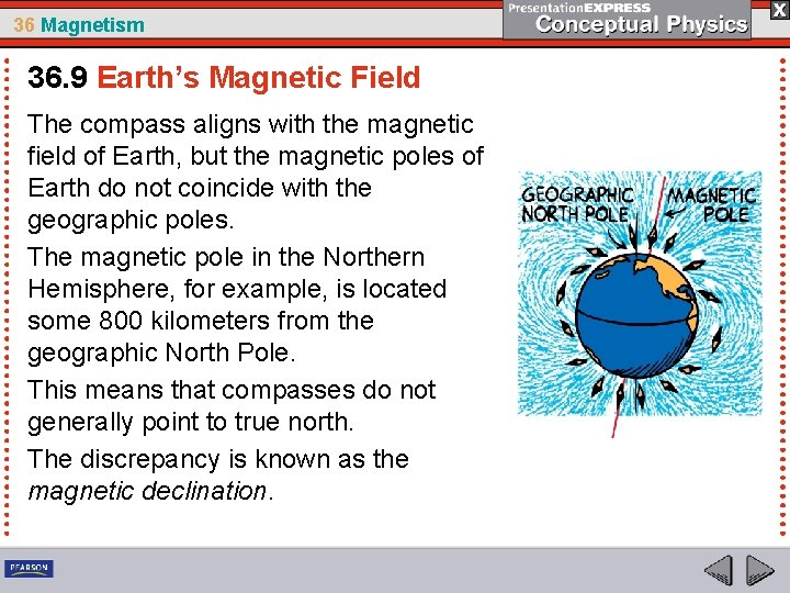 36 Magnetism 36. 9 Earth's Magnetic Field The compass aligns with the magnetic field