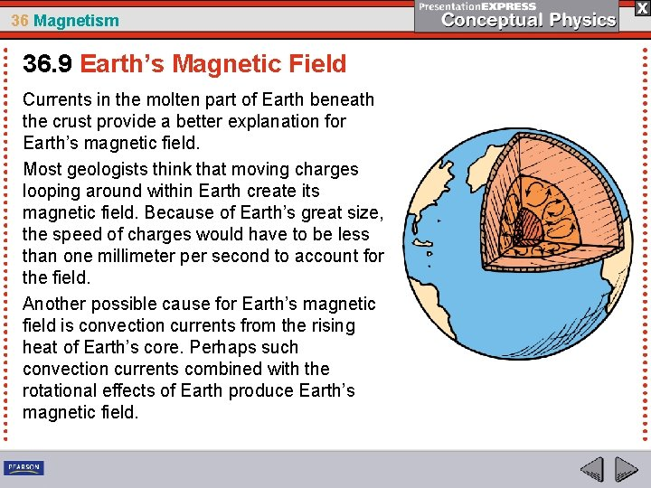 36 Magnetism 36. 9 Earth's Magnetic Field Currents in the molten part of Earth
