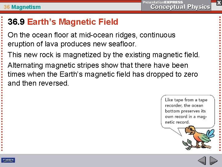 36 Magnetism 36. 9 Earth's Magnetic Field On the ocean floor at mid-ocean ridges,