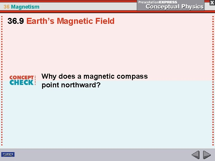 36 Magnetism 36. 9 Earth's Magnetic Field Why does a magnetic compass point northward?