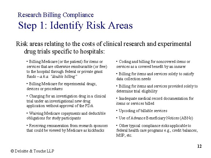 Research Billing Compliance Step 1: Identify Risk Areas Risk areas relating to the costs