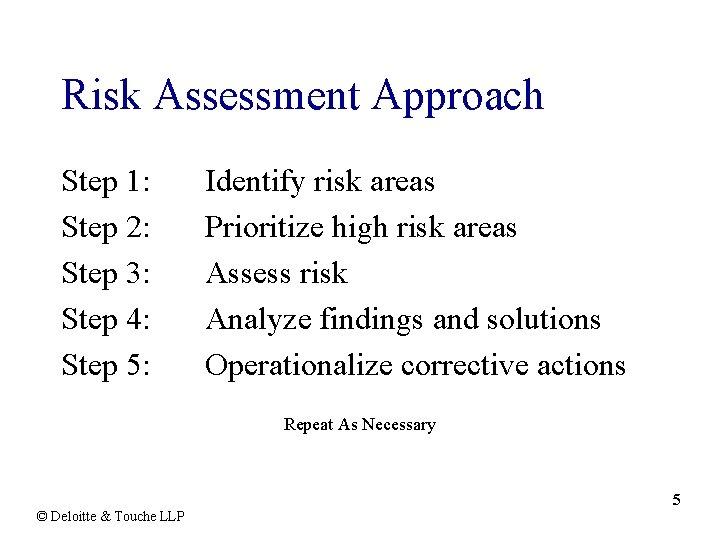 Risk Assessment Approach Step 1: Step 2: Step 3: Step 4: Step 5: Identify