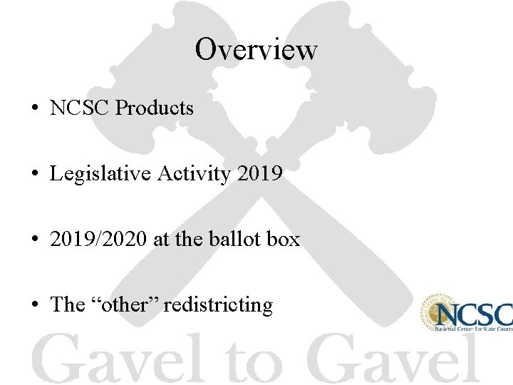Overview • NCSC Products • Legislative Activity 2019 • 2019/2020 at the ballot box