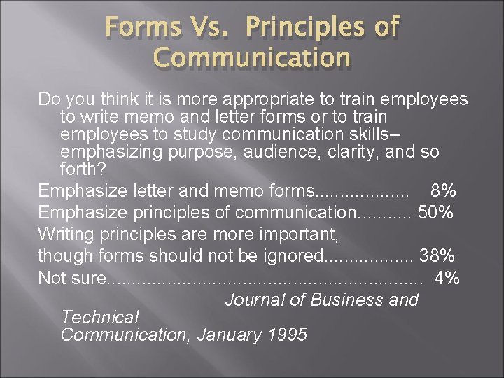 Forms Vs. Principles of Communication Do you think it is more appropriate to train