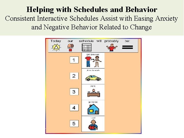 Helping with Schedules and Behavior Consistent Interactive Schedules Assist with Easing Anxiety and Negative