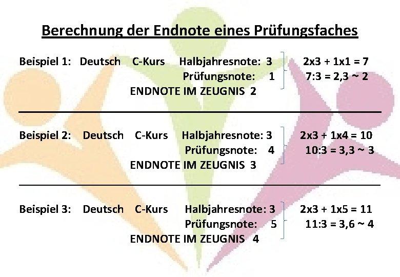 Berechnung der Endnote eines Prüfungsfaches Beispiel 1: Deutsch C-Kurs Halbjahresnote: 3 2 x 3