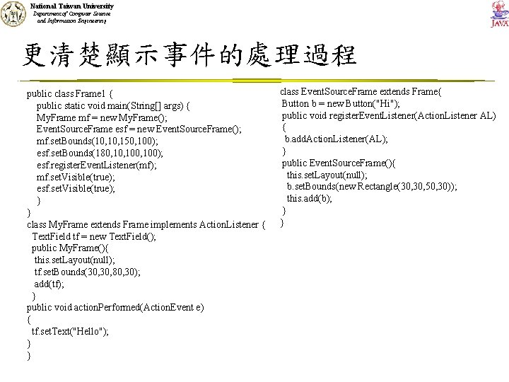 National Taiwan University Department of Computer Science and Information Engineering 更清楚顯示事件的處理過程 public class Frame