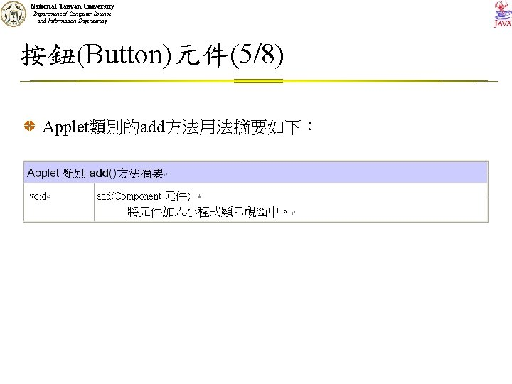 National Taiwan University Department of Computer Science and Information Engineering 按鈕(Button)元件(5/8) Applet類別的add方法用法摘要如下: