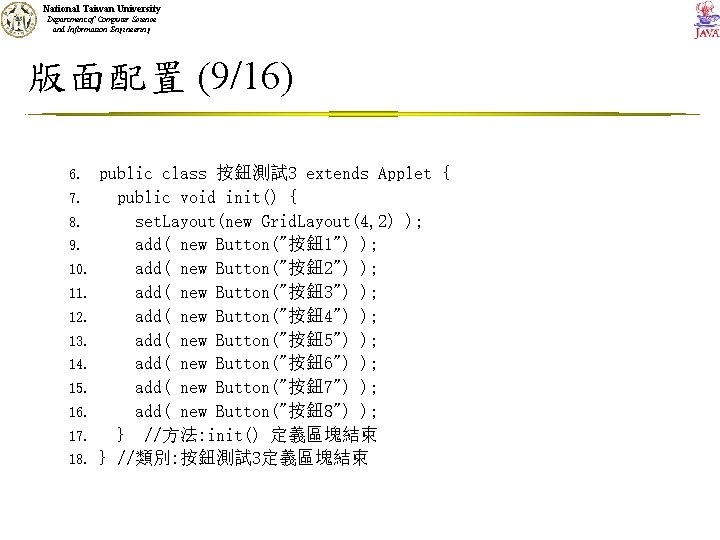 National Taiwan University Department of Computer Science and Information Engineering 版面配置 (9/16) 6. 7.