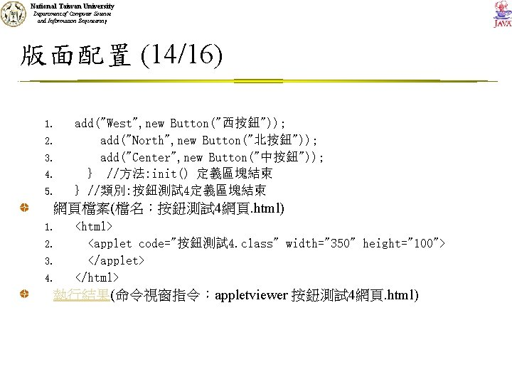 National Taiwan University Department of Computer Science and Information Engineering 版面配置 (14/16) 1. 2.