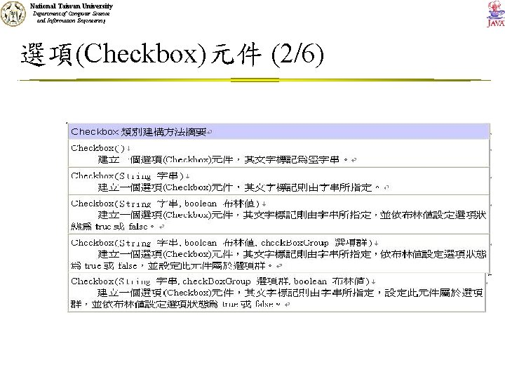 National Taiwan University Department of Computer Science and Information Engineering 選項(Checkbox)元件 (2/6)