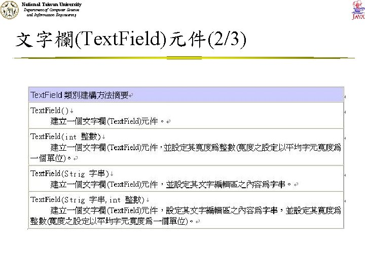 National Taiwan University Department of Computer Science and Information Engineering 文字欄(Text. Field)元件(2/3)