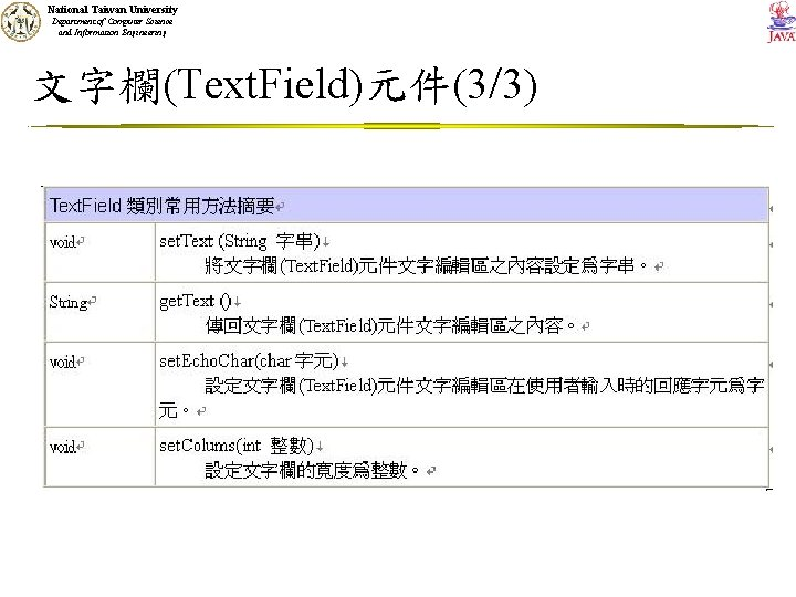 National Taiwan University Department of Computer Science and Information Engineering 文字欄(Text. Field)元件(3/3) 類別Text. Field所屬方法的說明將於下一小節再介紹。
