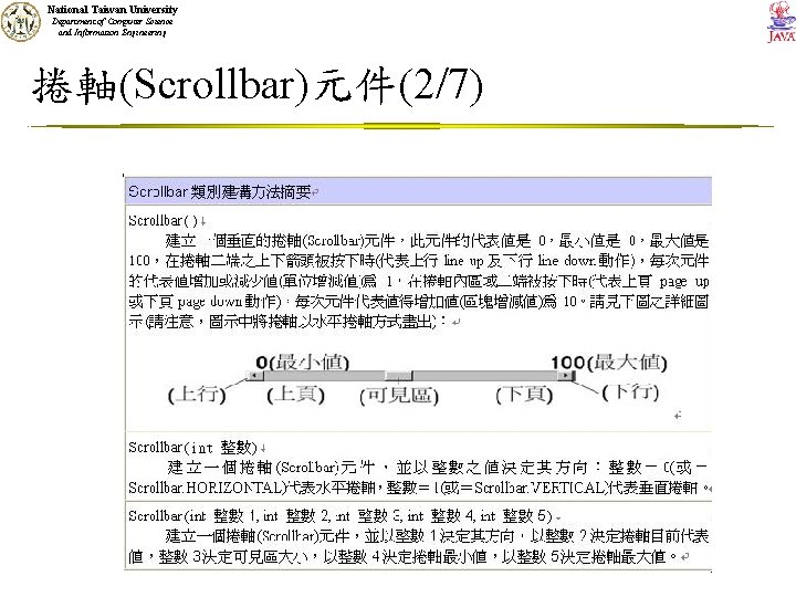 National Taiwan University Department of Computer Science and Information Engineering 捲軸(Scrollbar)元件(2/7)