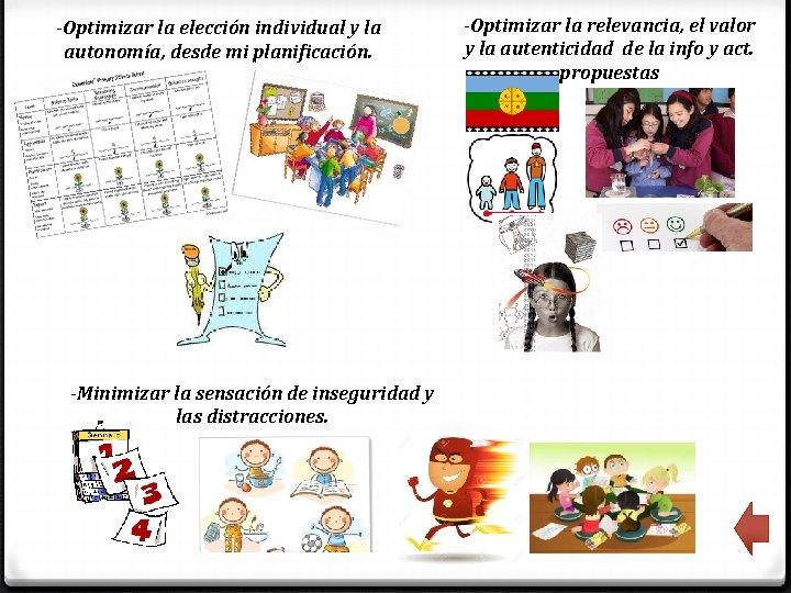 -Optimizar la elección individual y la autonomía, desde mi planificación. -Minimizar la sensación de