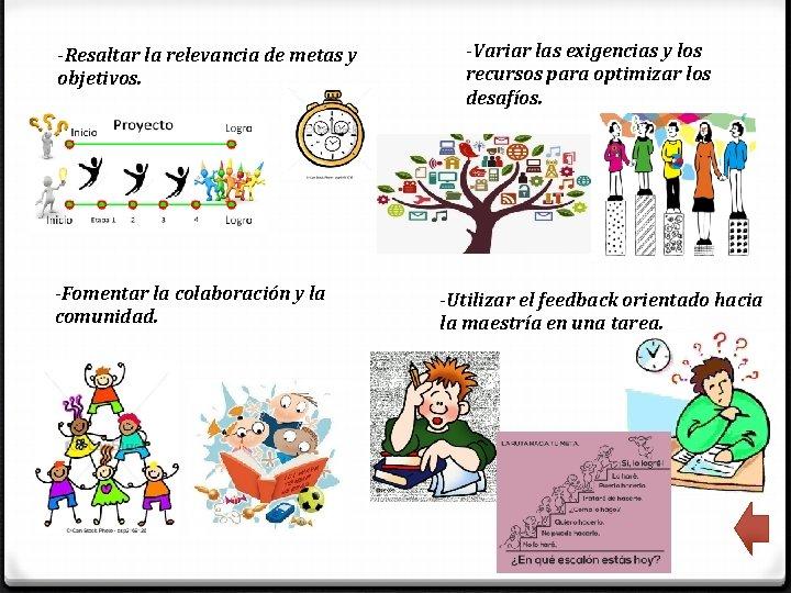 -Resaltar la relevancia de metas y objetivos. -Fomentar la colaboración y la comunidad. -Variar