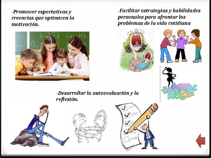 -Promover expectativas y creencias que optimicen la motivación. -Facilitar estrategias y habilidades personales para