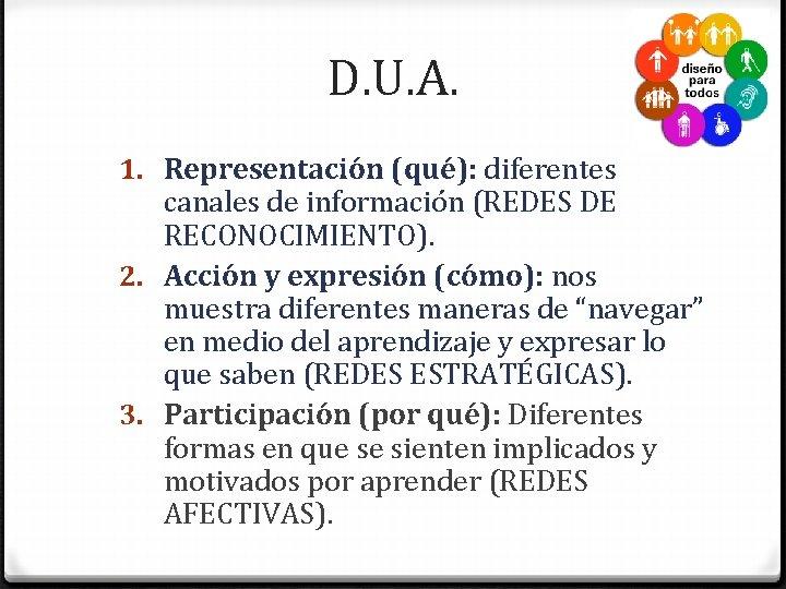 D. U. A. 1. Representación (qué): diferentes canales de información (REDES DE RECONOCIMIENTO). 2.