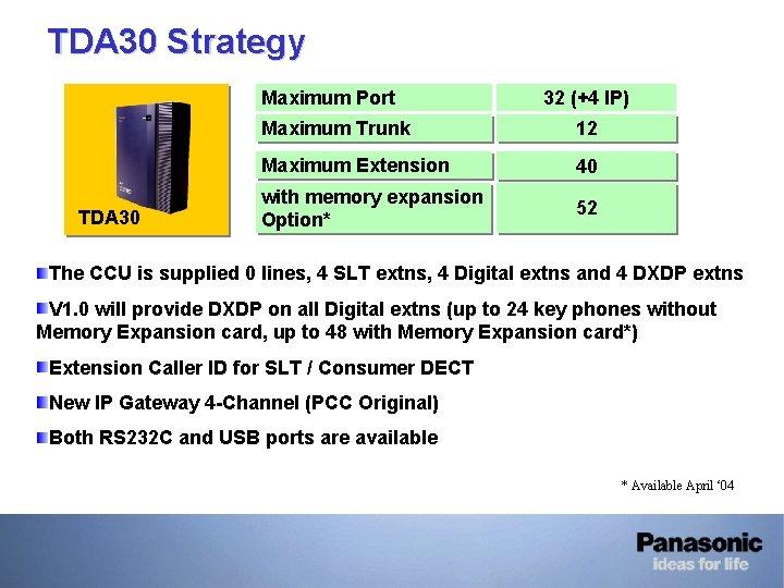 TDA 30 Strategy Maximum Port TDA 30 32 (+4 IP) Maximum Trunk 12 Maximum