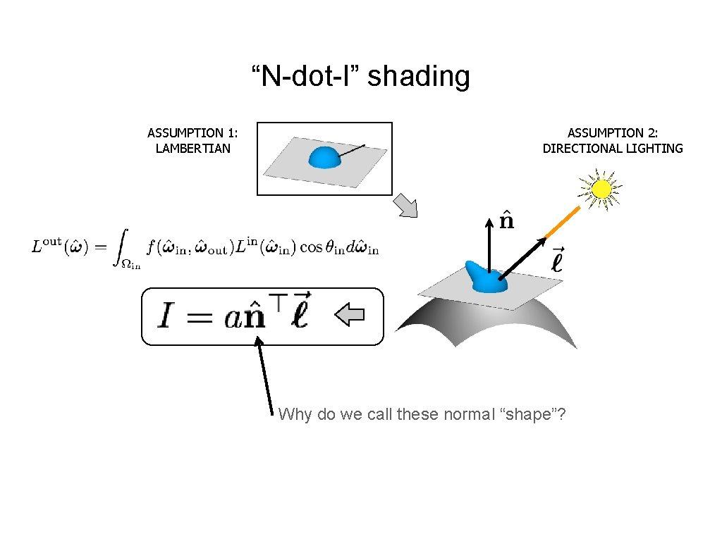 """N-dot-l"" shading ASSUMPTION 1: LAMBERTIAN ASSUMPTION 2: DIRECTIONAL LIGHTING Why do we call these"