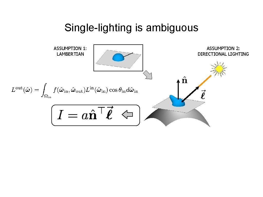 Single-lighting is ambiguous ASSUMPTION 1: LAMBERTIAN ASSUMPTION 2: DIRECTIONAL LIGHTING