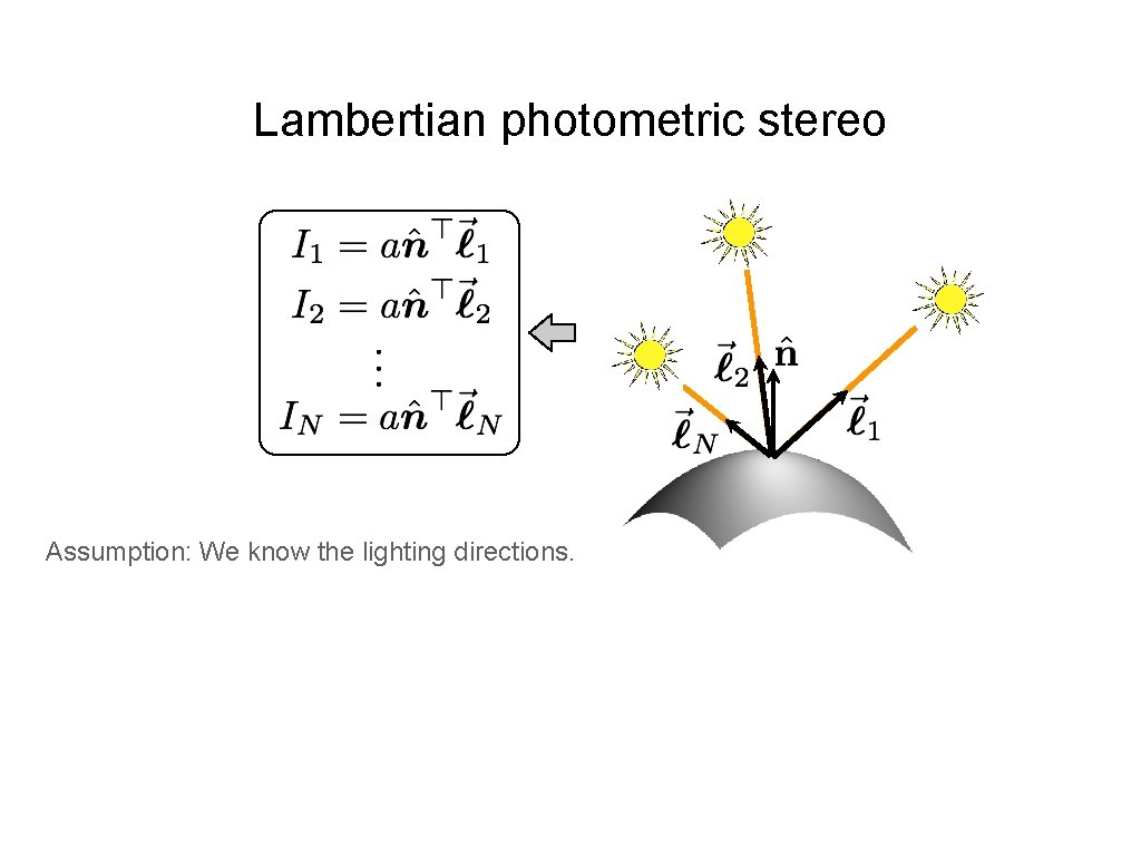 Lambertian photometric stereo Assumption: We know the lighting directions.