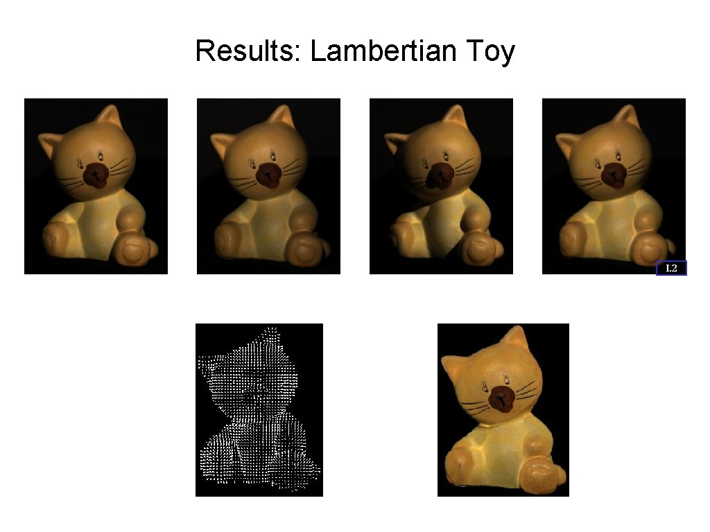 Results: Lambertian Toy I. 2 Input Images Estimated Surface Normals Estimated Albedo