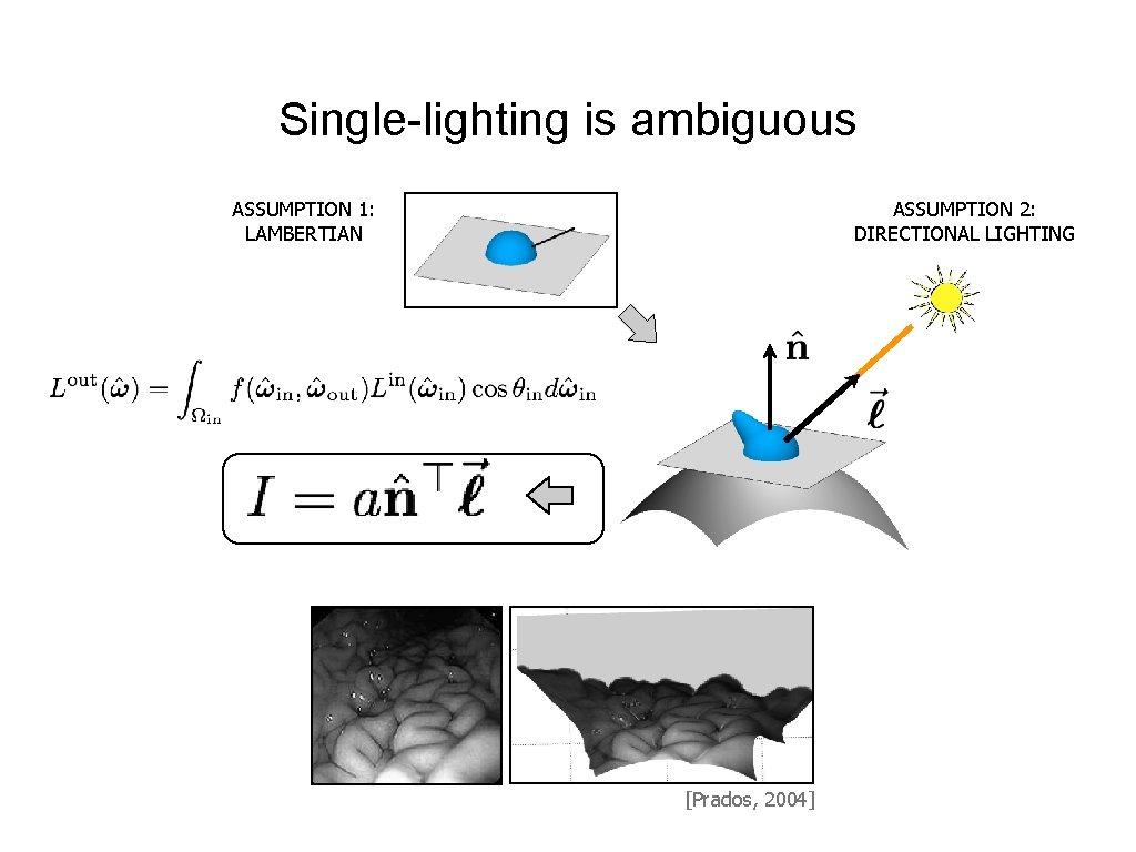 Single-lighting is ambiguous ASSUMPTION 1: LAMBERTIAN ASSUMPTION 2: DIRECTIONAL LIGHTING [Prados, 2004]