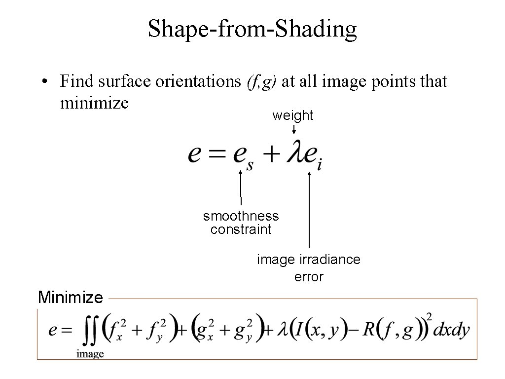 Shape-from-Shading • Find surface orientations (f, g) at all image points that minimize weight