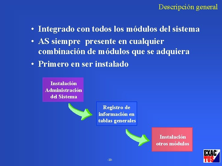 Descripción general • Integrado con todos los módulos del sistema • AS siempre presente