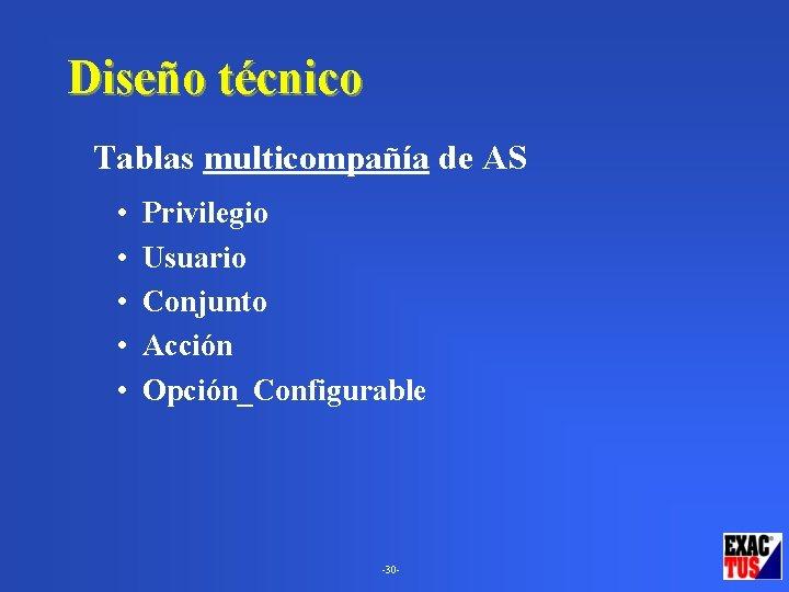 Diseño técnico Tablas multicompañía de AS • • • Privilegio Usuario Conjunto Acción Opción_Configurable