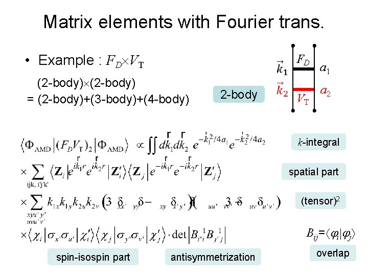 Matrix elements with Fourier trans. • Example : FD VT (2 -body) = (2