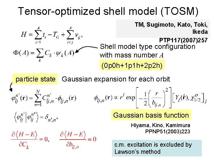 Tensor-optimized shell model (TOSM) TM, Sugimoto, Kato, Toki, Ikeda PTP 117(2007)257 Shell model type