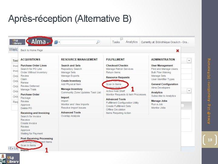 1 1 Alma @ ULg - Acquisitions - (4) Receiving Après-réception (Alternative B) 19