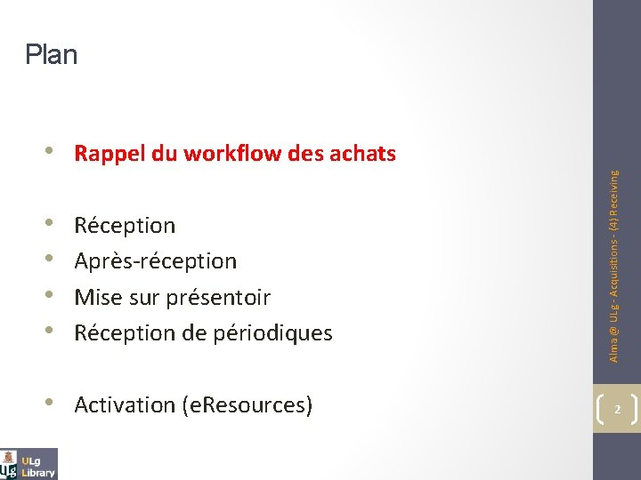 Plan • • Réception Après-réception Mise sur présentoir Réception de périodiques • Activation (e.