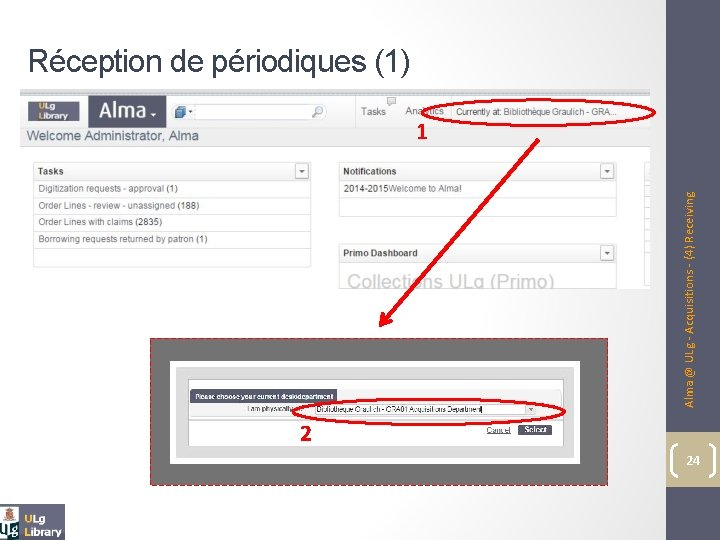 Alma @ ULg - Acquisitions - (4) Receiving Réception de périodiques (1) 1 2