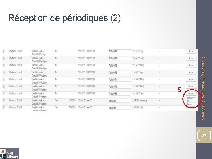 5 Alma @ ULg - Acquisitions - (4) Receiving Réception de périodiques (2) 27