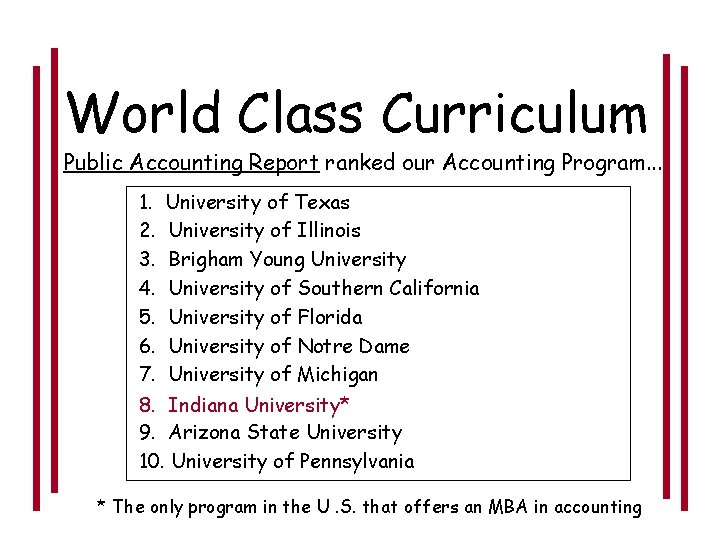 World Class Curriculum Public Accounting Report ranked our Accounting Program. . . 1. 2.