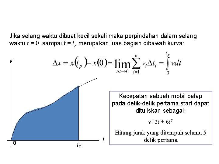 Jika selang waktu dibuat kecil sekali maka perpindahan dalam selang waktu t = 0