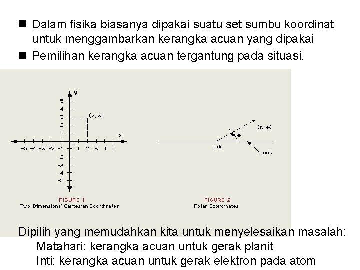 n Dalam fisika biasanya dipakai suatu set sumbu koordinat untuk menggambarkan kerangka acuan yang