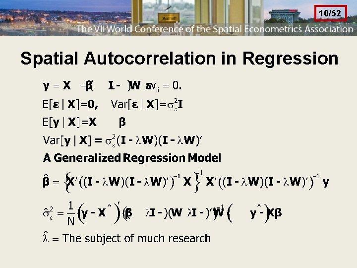 10/52 Spatial Autocorrelation in Regression